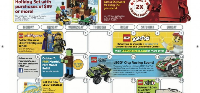 October 2014 LEGO Store Calendar Sales Promos And Events