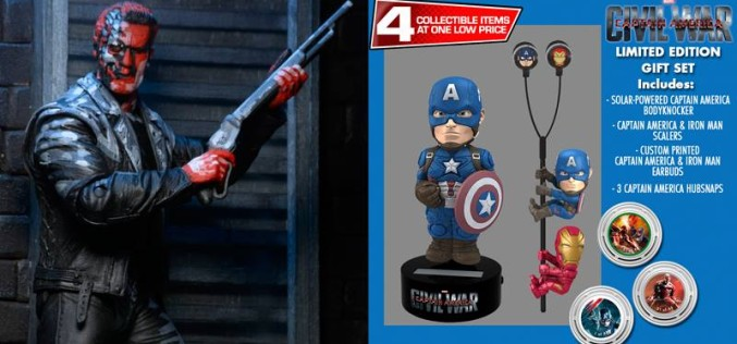 NECA Toys Shipping This Week: Terminator 2 Video Game Appearance T-800 & Captain America: Civil War Gift Set