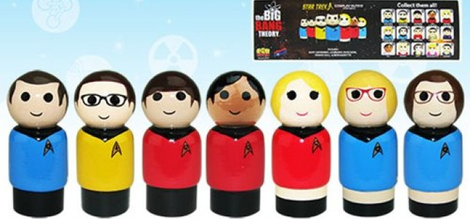 Bif Bang Pow! SDCC 2016 Exclusive The Big Bang Theory / Star Trek: The Original Series Pin Mate Wooden Figure Set of 7