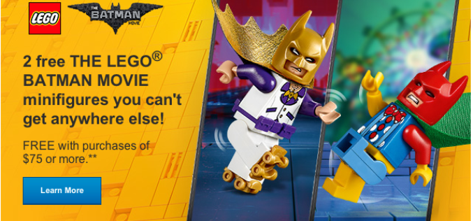 LEGO Shop Offers 2 Free LEGO Batman Movie Minifigures With $75 Purchase