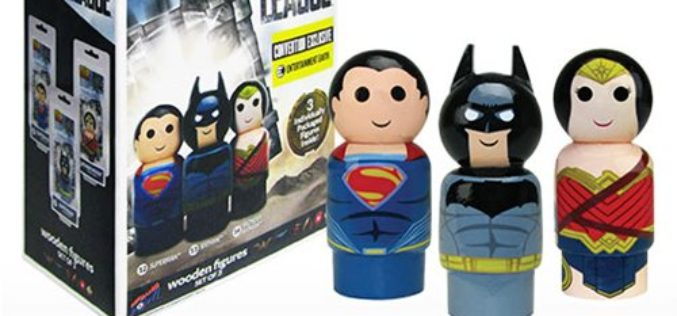 SDCC 2017 Exclusive Justice League Pin Mate Wooden Figure Set Of 3