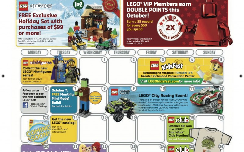 October 2014 LEGO Store Calendar Sales Promos And Events - Toy Hype USA